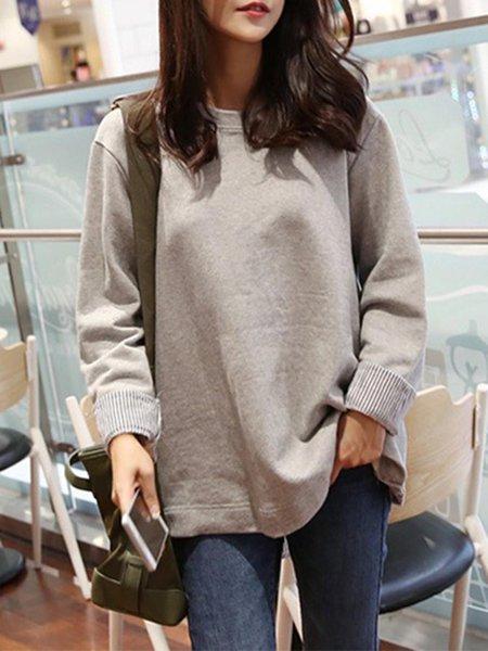 Light Gray Folds Long Sleeve High Low Paneled T-Shirt
