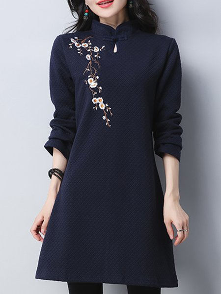 Women Casual Dress Stand Collar A-line Daytime Long Sleeve Embroidered Dress