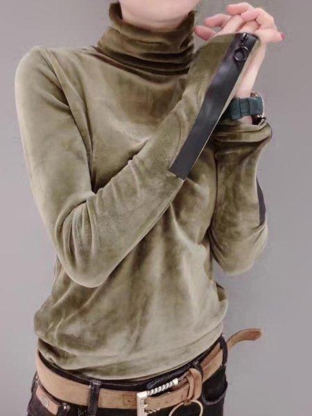 Velvet Turtleneck Long Sleeve Casual  T-Shirt
