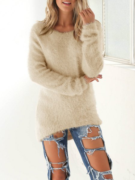 Crew Neck Casual Fluffy Knitted Sweater