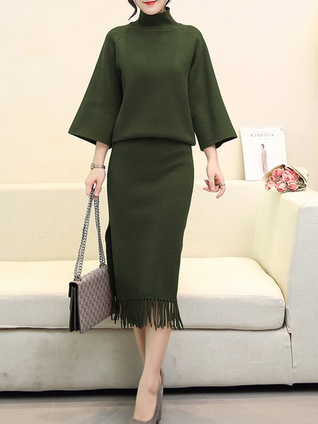 Solid Knitted Casual Turtle Neck Two Pieces Dress