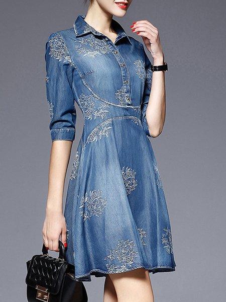 Blue Women Elegant Dress Shirt Collar A-line Long Sleeve Denim Dress