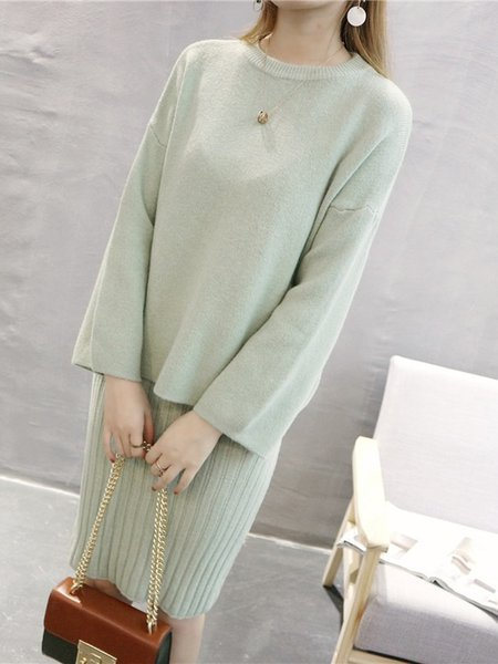 Long Sleeve Knitted Crew Neck Two Piece Sets