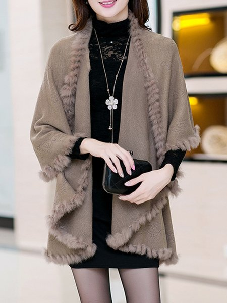 Floral Knitted Knitted Casual Fur Shearling Poncho