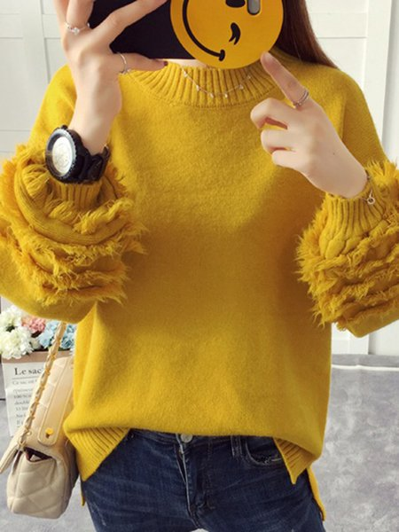 Crew Neck Knitted Balloon Sleeve H-line Sweater