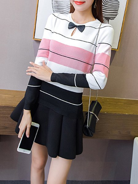 Long Sleeve Keyhole Stripes Knitted Sweater