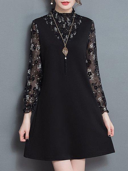 Paneled Print Long Sleeve Ruffled  Dress