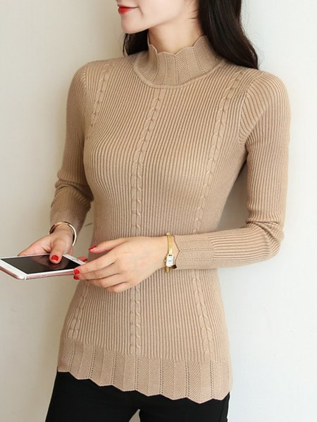Knitted Casual Stand Collar Sweater