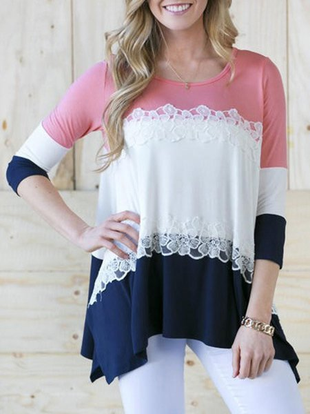 3/4 Sleeve Casual Crochet-Trimmed Blouse