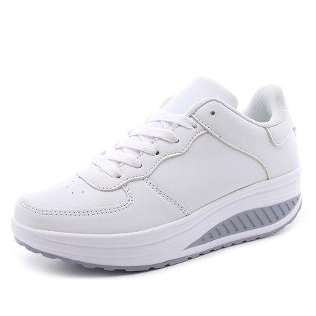 Casual Solid All Season Kitten Heel Hollow-out Straps Sneaker