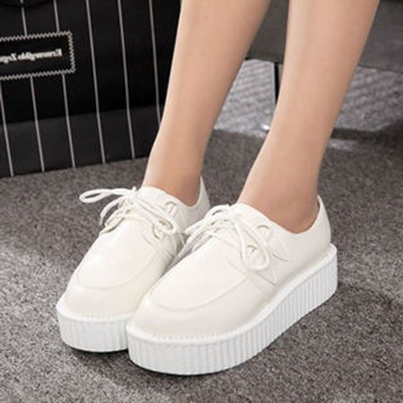 Solid Platform Shoes Lace-up All Season PU Casual Creepers