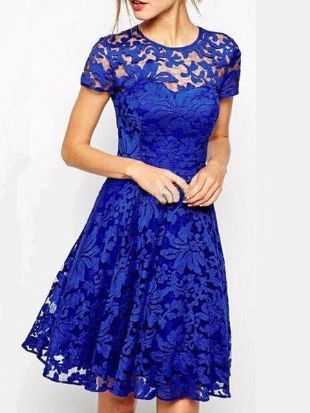 Elegant Lace Short Sleeve Gathered Party Dress