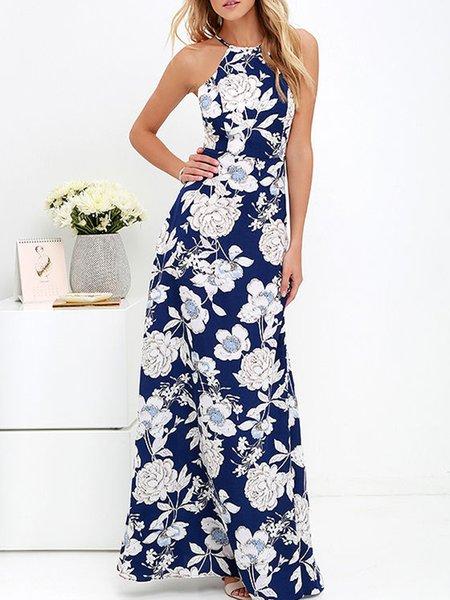 Blue Halter Floral Swing Holiday Dress