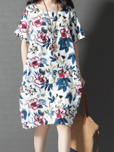 White Women Print Dress Crew Neck Cocoon Short Sleeve Printed Dress