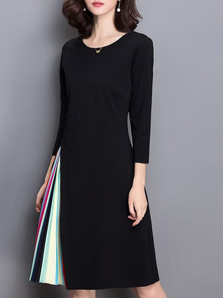 Black Women Elegant Dress Crew Neck A-line Going out Cotton-blend Paneled Dress