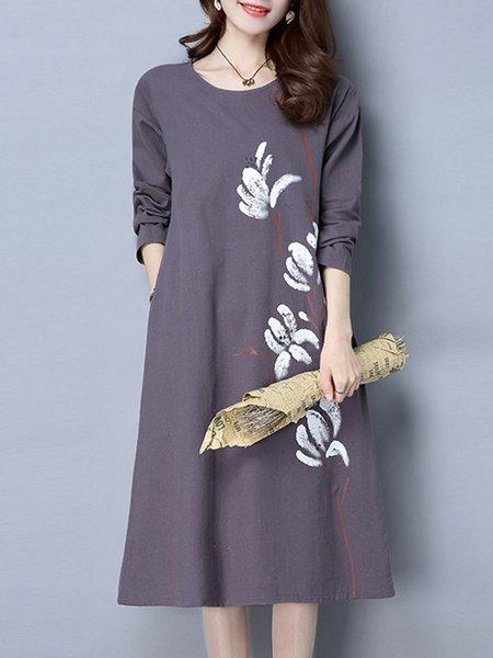 Purple Floral Printed A-line Vintage Dress