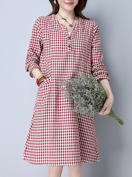 Red Women Casual Dress Stand Collar A-line Long Sleeve Checkered/Plaid Dress