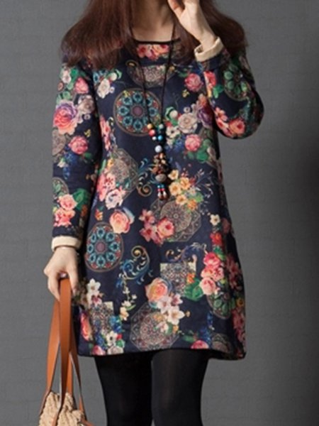 Navy Blue Crew Neck Floral Casual Dress