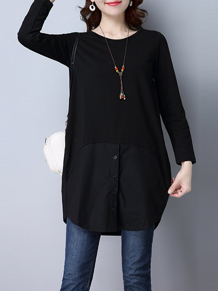 Simple Linen Solid Casual Tunic Top