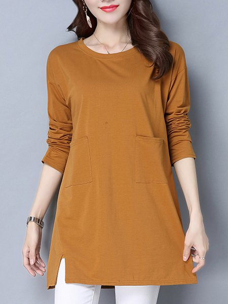 Slit Solid Long Sleeve Polyester Tunic Top
