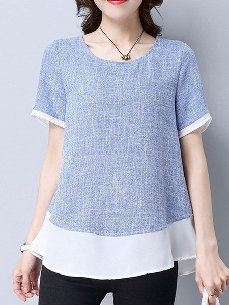 H-line Crew Neck Casual Paneled Short Sleeve T-Shirt