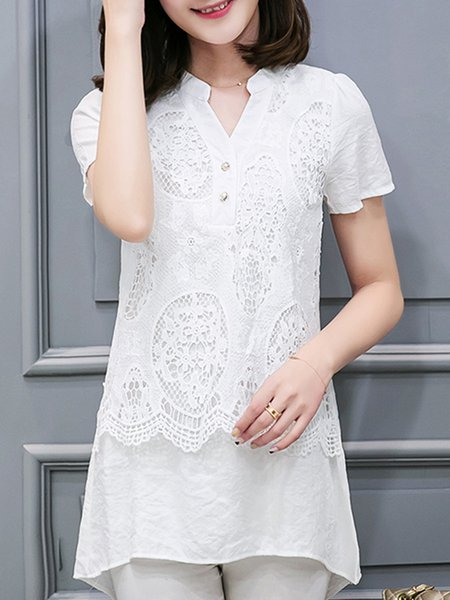 White Short Sleeve Crocheted Blouse