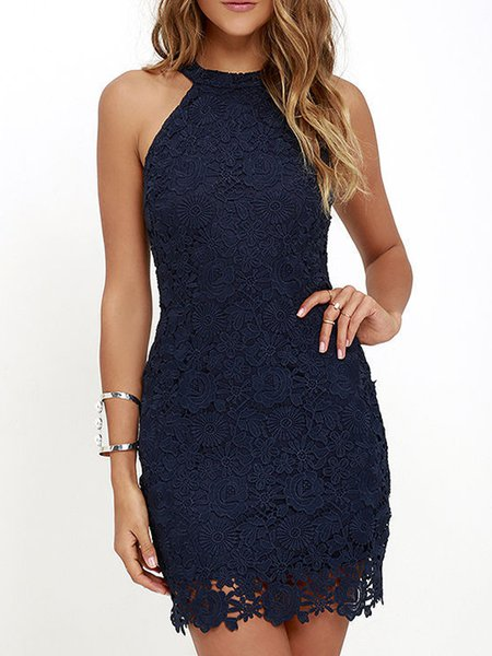 Navy Blue Halter Sheath Crocheted Sleeveless Party Dress