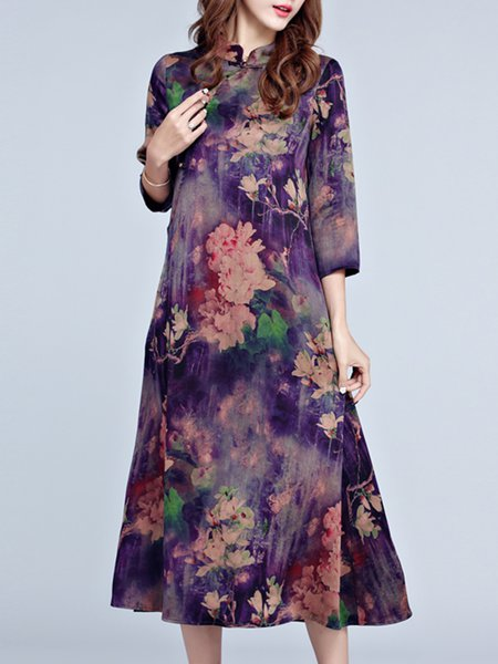 Purple 3/4 Sleeve Printed Floral Stand Collar Vintage Dress