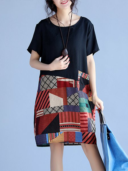 Black Women Print Dress Crew Neck Cocoon Going out Cotton Geometric Dress