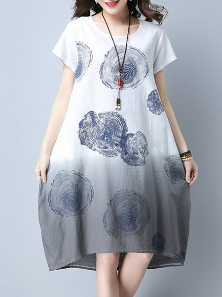 Gray Ombre/Tie-Dye Crew Neck Short Sleeve Casual Dress