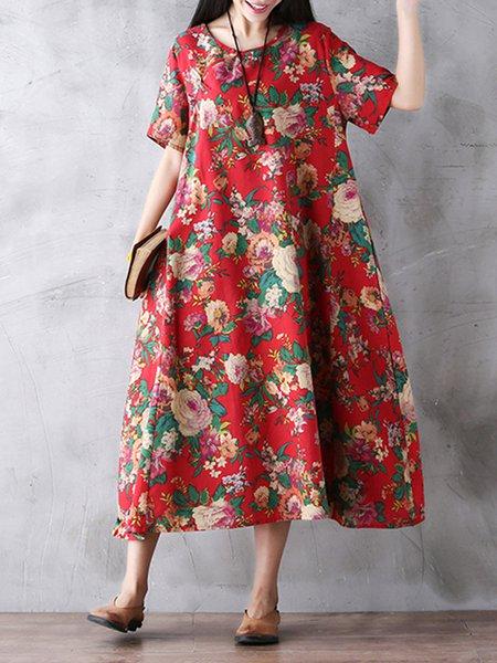 Red Printed Floral Vintage Dress