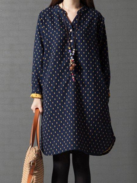 Women Casual Dress Stand Collar A-line Going out Linen Buttoned Dress