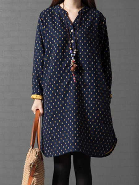 Navy Blue Geometric Long Sleeve Casual Dress