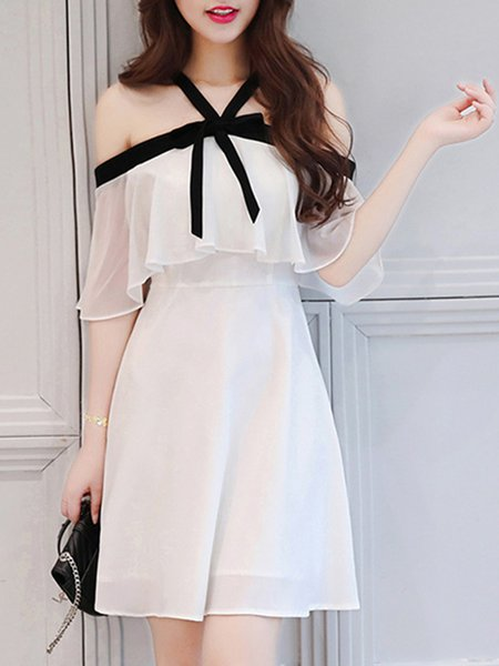 Bow A-line Chiffon Halter Girly Frill Sleeve Cute Dress