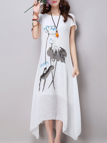 White Women Print Dress Crew Neck Asymmetrical Going out Printed Floral Dress