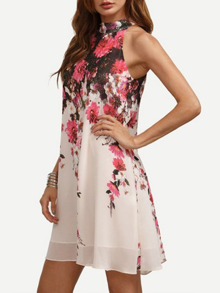Pink Floral Halter Resort Holiday Dress