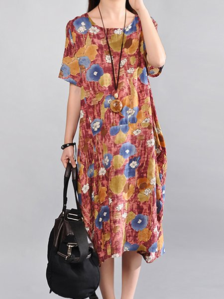 Red Floral Cocoon Crew Neck Casual Print Dress