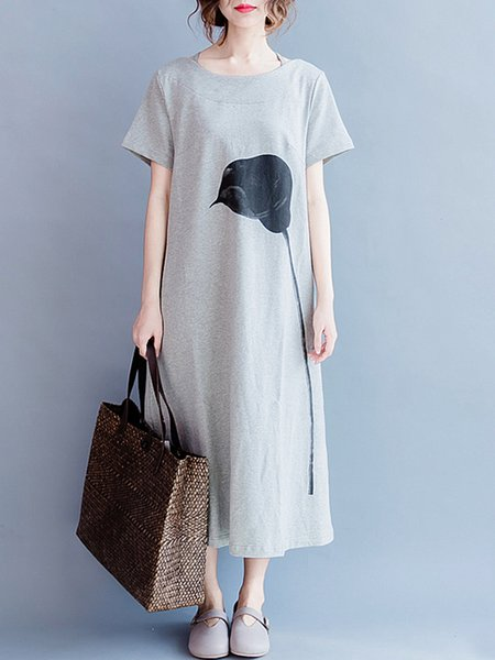 Gray Women Casual Dress Crew Neck Daily Short Sleeve Pockets Dress