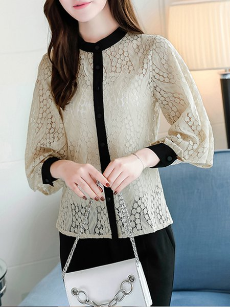 Apricot Paneled Casual Stand Collar Blouse