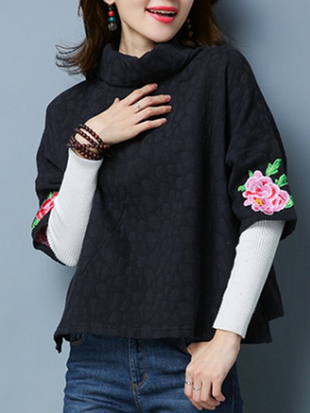 Floral-embroidered Cowl Neck Casual Half Sleeve Blouse