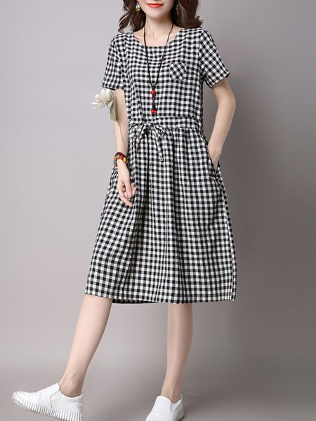 Black Checkered/Plaid Short Sleeve Crew Neck Casual Dress