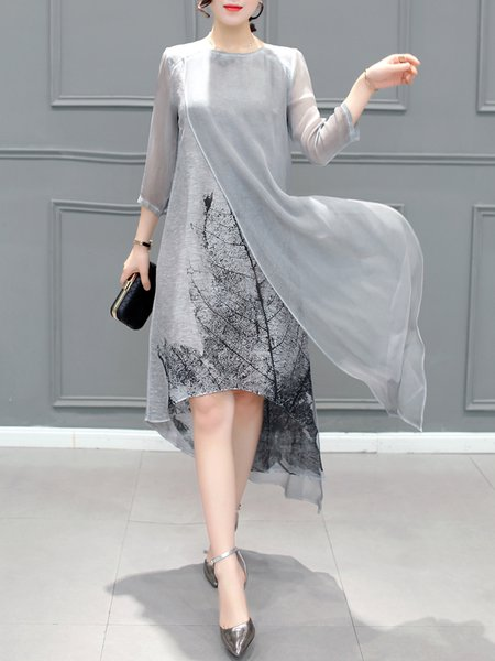 Gray Women Elegant Dress Crew Neck Asymmetrical Daytime Elegant Slit Dress