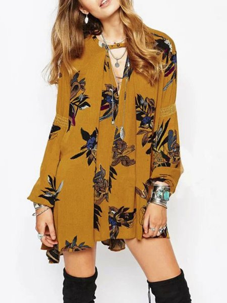 Full Of Grace Yellow Boho Keyhole Tunic Top