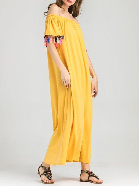Yellow Off Shoulder Casual Cotton Maxi Dress - JustFashionNow.com