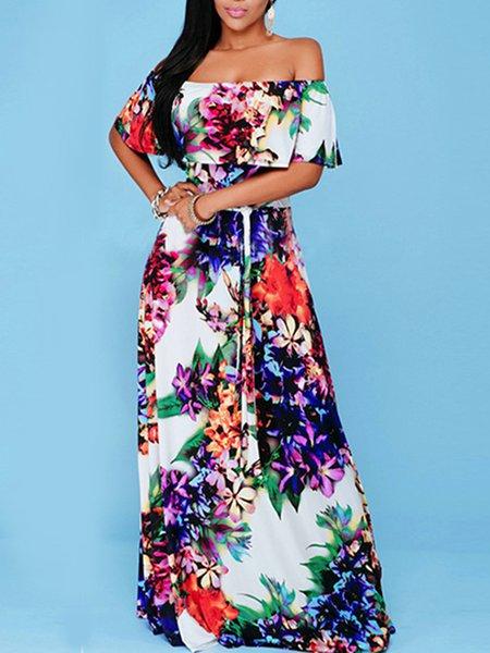 Multicolor Resort Off Shoulder Ruffled Maxi Dress