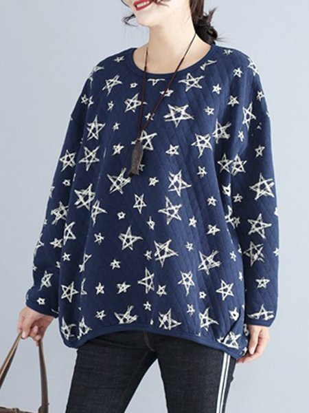 Cotton Long Sleeve Crew Neck Printed Casual Sweatshirts