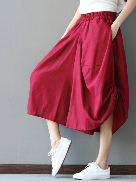 Burgundy H-line Casual Solid Pants
