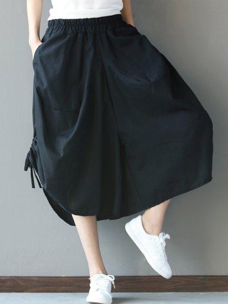 Black Shirred Shift Solid Casual Pants