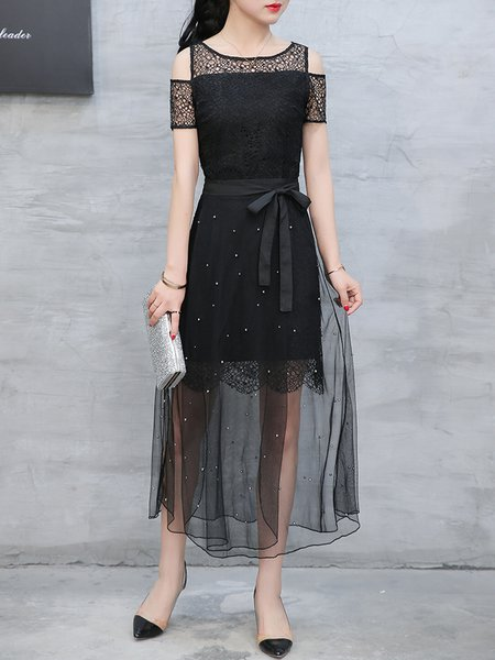Black Pierced Two Piece Cold Shoulder Elegant Dress