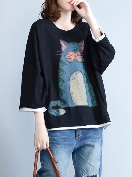 Black Cute Animal Print Crew Neck T-Shirt